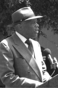 Mayor Willie L. Brown, Jr. speaks at the dedication of Pink Triangle Park.