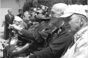 World War II Veterans listened from the front row