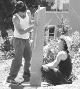 Lawrence Fine Arts crew installs the sculpture over three days in June 2002.